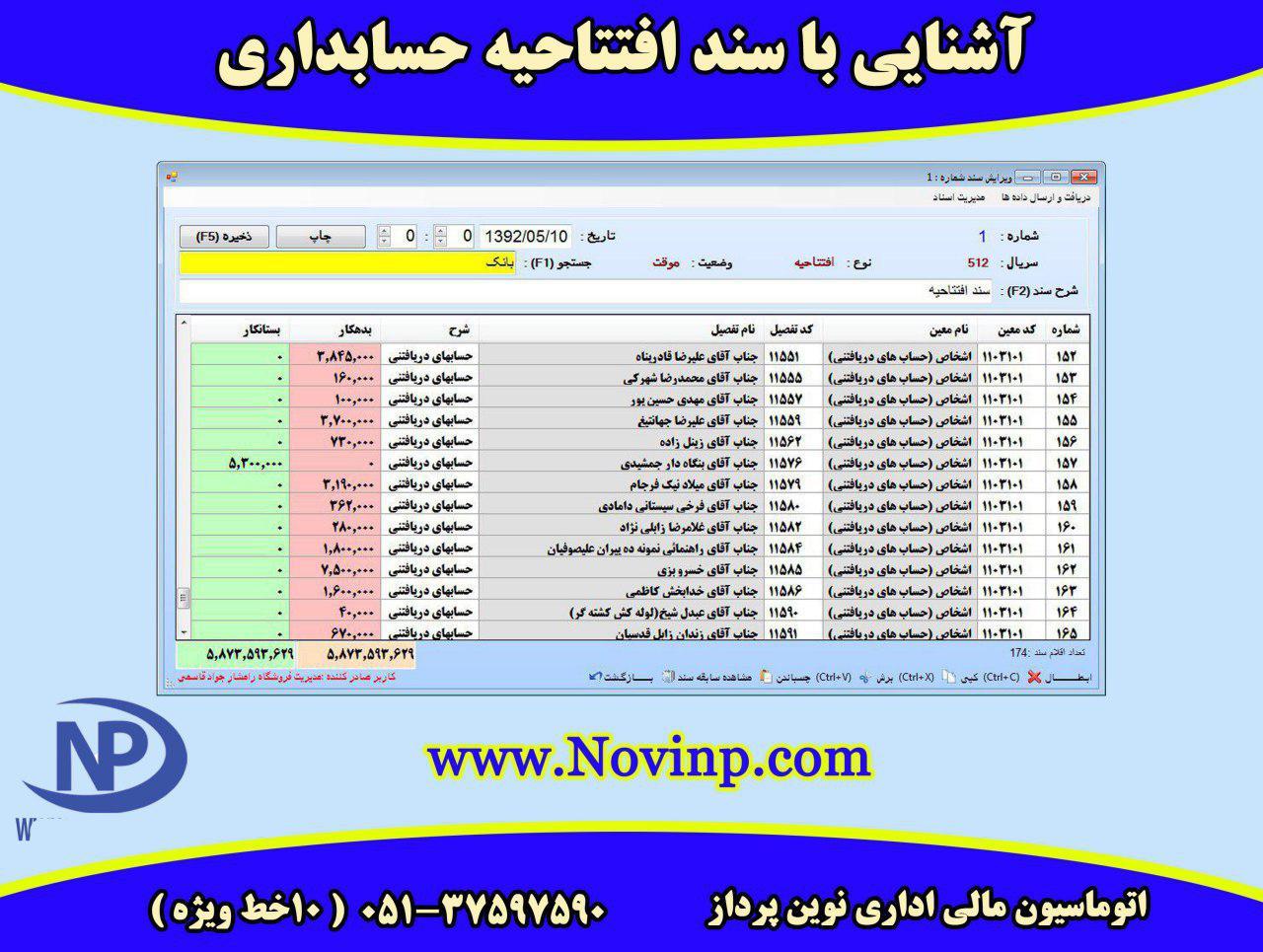 آشنایی باسند افتتاحیه حسابداری نوین پرداز