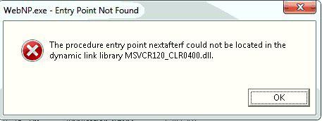 The procedure entry point nextafterf could not be located in the dynamic link library MSVCR120_CLR0400